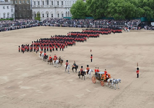 Arial view of the parade following the Queen's carriage