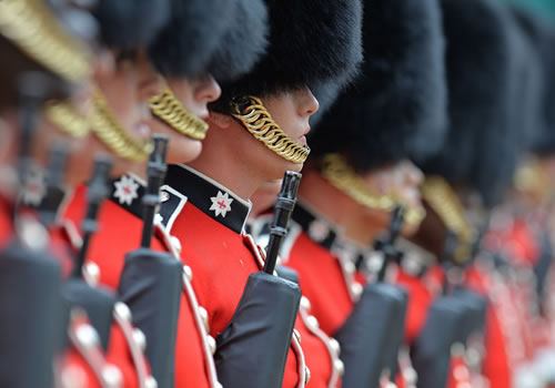 A close up of the soldiers waiting to take part in the parade